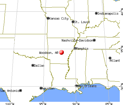 Woodson, Arkansas map