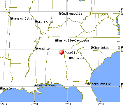 Powell, Alabama map