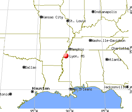 Lyon, Mississippi map