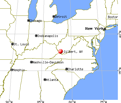 Gilbert, West Virginia map
