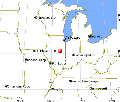 Bellflower, Illinois map