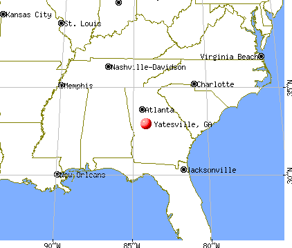 Yatesville, Georgia map