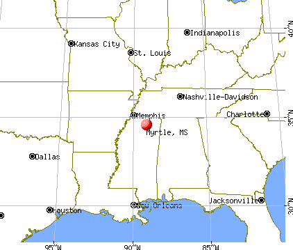 Myrtle, Mississippi map