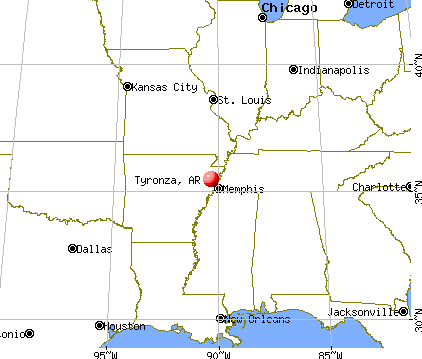 Tyronza, Arkansas map