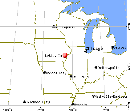 Letts, Iowa map