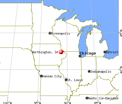 Worthington, Iowa map