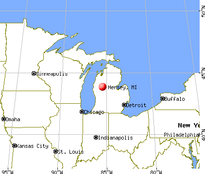 Hersey, Michigan map