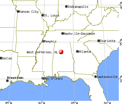 West Jefferson, Alabama map