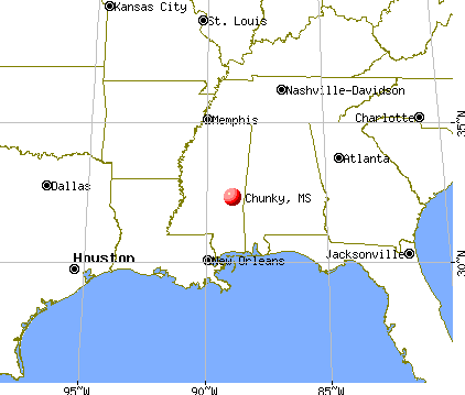 Chunky, Mississippi map