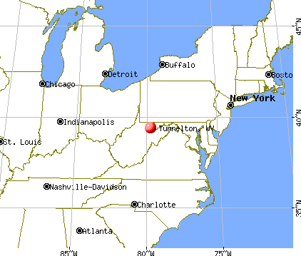 Tunnelton, West Virginia map