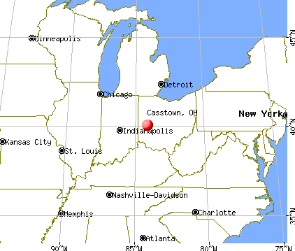 Casstown, Ohio map