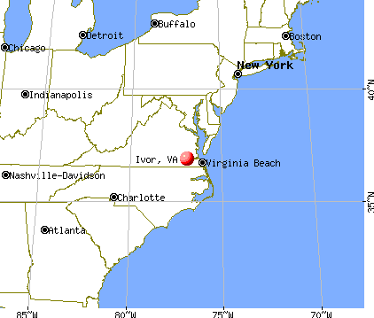 Ivor, Virginia map