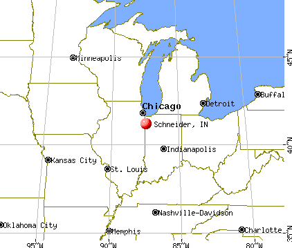 Schneider, Indiana map