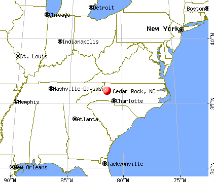 Cedar Rock, North Carolina map
