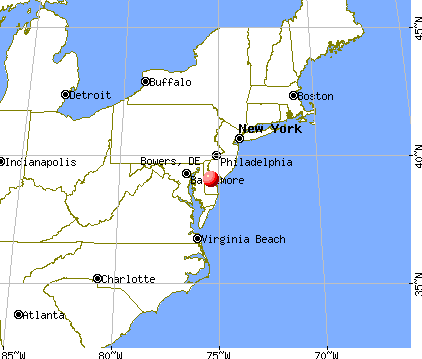 Bowers, Delaware map