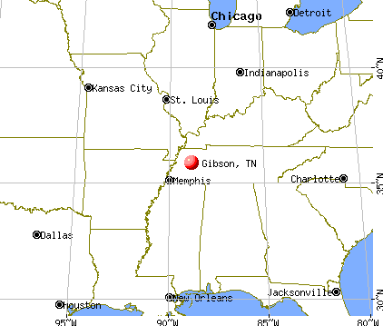 Gibson, Tennessee map