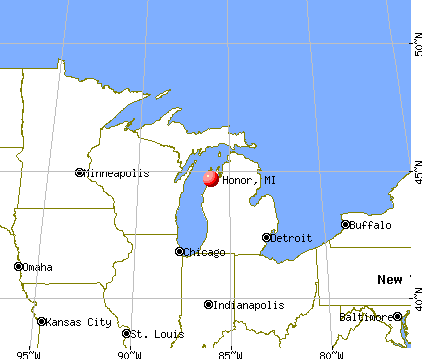 Honor, Michigan map