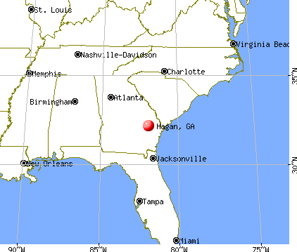 Hagan, Georgia map