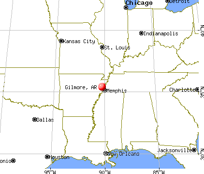 Gilmore, Arkansas map