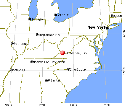 Bradshaw, West Virginia map
