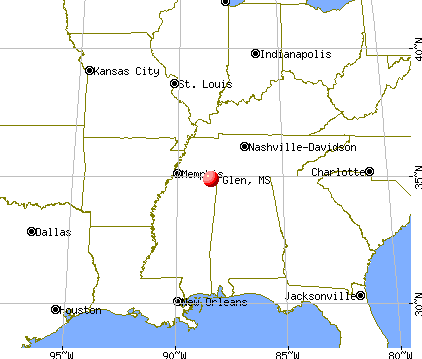 Glen, Mississippi map