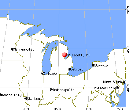 Prescott, Michigan map
