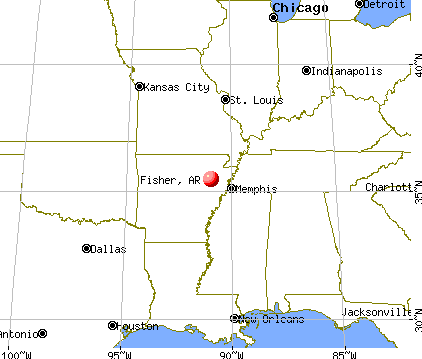 Fisher, Arkansas map