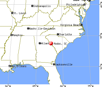 Modoc, South Carolina map