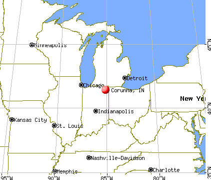 Corunna, Indiana map
