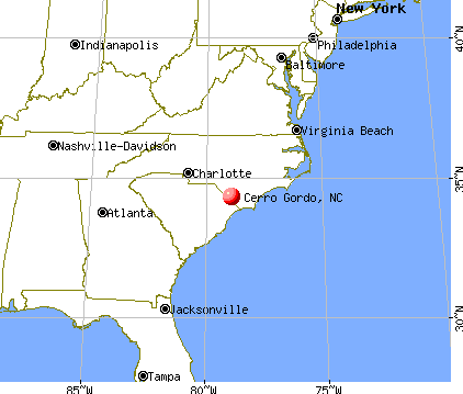 Cerro Gordo, North Carolina map