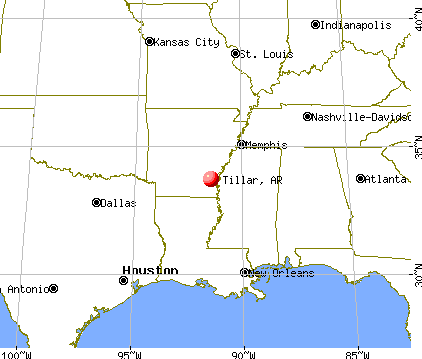 Tillar, Arkansas map