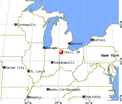 Cecil, Ohio map