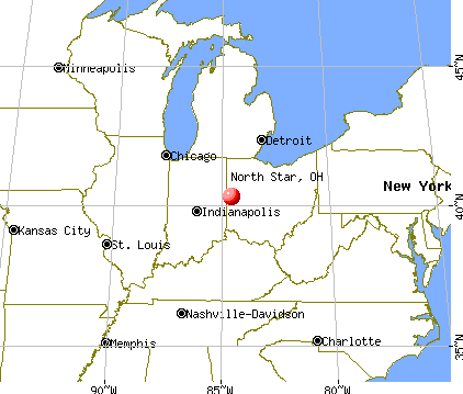 North Star, Ohio map