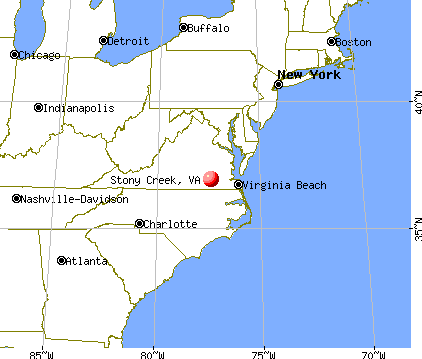 Stony Creek, Virginia map