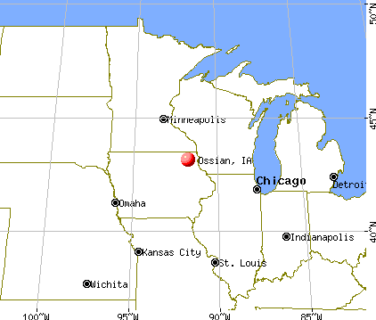 Ossian, Iowa map
