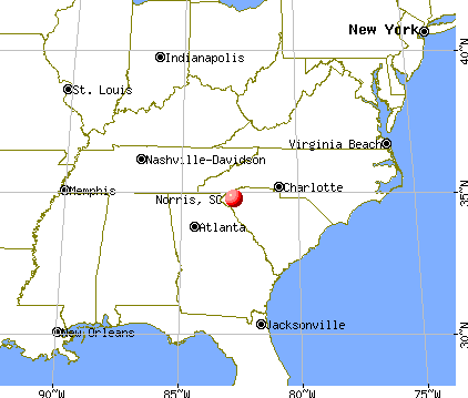 Norris, South Carolina map