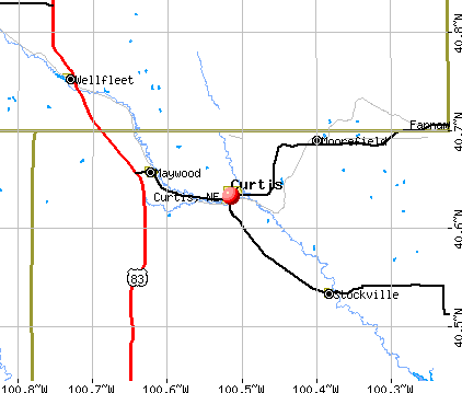 Curtis, NE map
