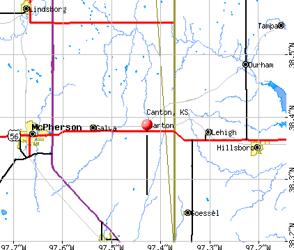 Canton, KS map