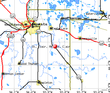 St. Clair, MN map
