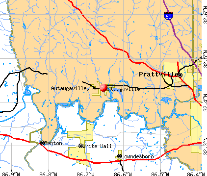 Autaugaville, AL map