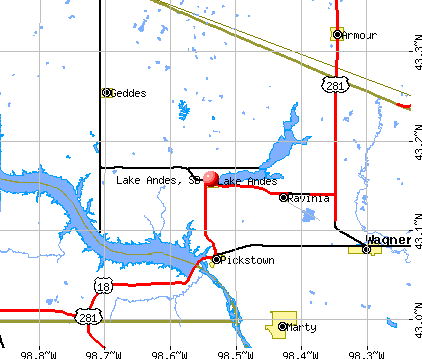 Lake Andes, SD map