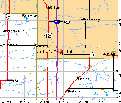 Woodhull, IL map