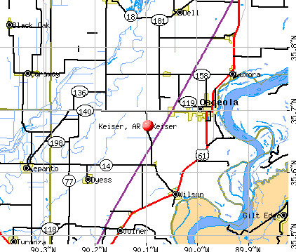 Keiser, AR map