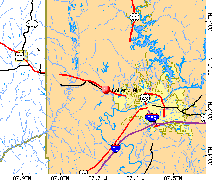 Coker, AL map