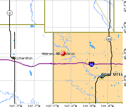 Hebron, ND map