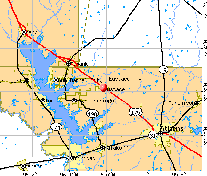 Eustace, TX map