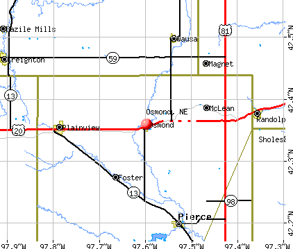 Osmond, NE map