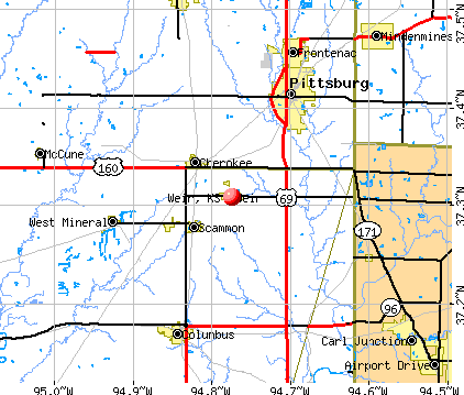 Weir, KS map