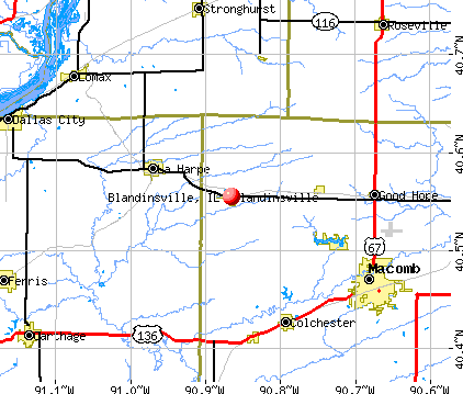 Blandinsville, IL map