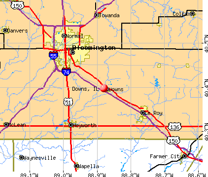 Downs, IL map